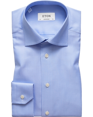 Men's Eton Contemporary Fit Houndstooth Dress Shirt, Size 17.5 - Purple