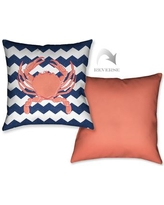 LauralHome Crab and Chevron Throw Pillow CC18X18DP