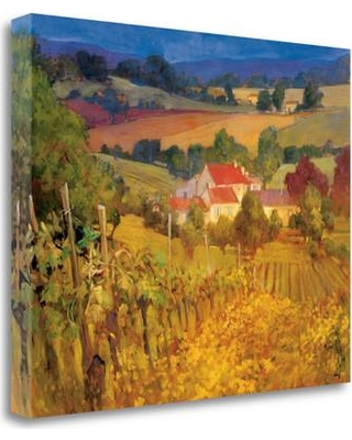 "Tangletown Fine Art 'Vineyard Hill' Graphic Art Print on Wrapped Canvas CA304002-2218c Size: 18"" H x 22"" W"