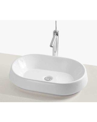 Ronbow Brit Ceramic Oval Vessel Bathroom Sink E022003-WH