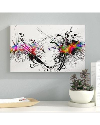"Ebern Designs 'Color Explosion-White' Graphic Art Print on Wrapped Canvas EBRN2208 Size: 30"" H x 47"" W"