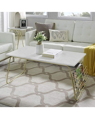 Walker Edison Metal Base Rectangle Coffee Table Living Room Accent Ottoman Magazine Storage Shelf, 40 Inch, White Marble