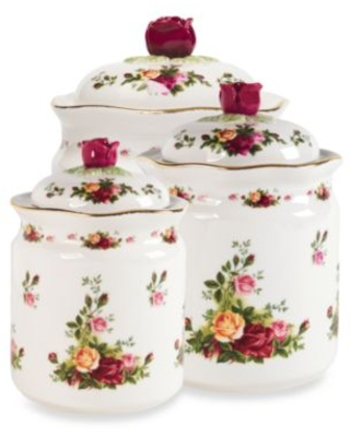 Royal Albert Old Country Roses 3-Piece Covered Canister Set White/red