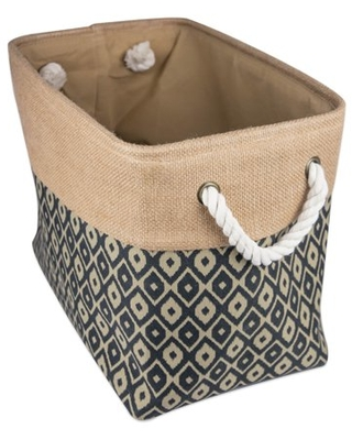 """DII Collapsible Burlap Storage Basket - Home Organizational Solution for Office, Bedroom, & Laundry (Medium - 16x10x12""""), Black Ikat"""
