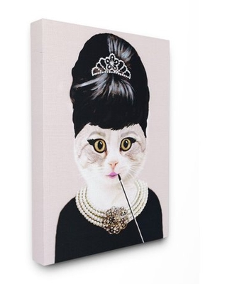The Stupell Home Decor Collection Fashion Feline Jewelry And Makeup Cat Canvas Wall Art