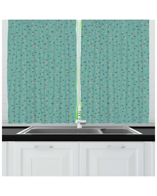 Abstract Continuous Pattern of Scribble Style Irregular Spots Kitchen Curtain East Urban Home