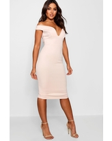 Womens Sweetheart Off Shoulder Bodycon Midi Dress - Pink - 10
