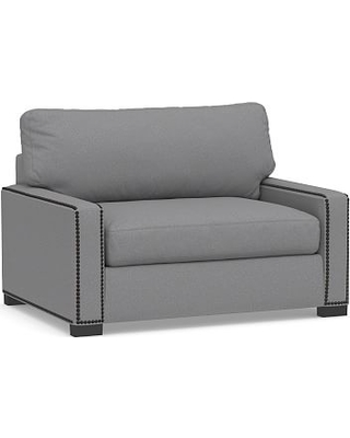 Turner Square Arm Upholstered Twin Sleeper Sofa with Bronze Nailheads, Polyester Wrapped Cushions, Textured Twill Light Gray