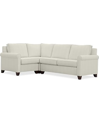 Cameron Roll Arm Upholstered Right Arm 3-Piece Corner Sectional, Polyester Wrapped Cushions, Basketweave Slub Ivory