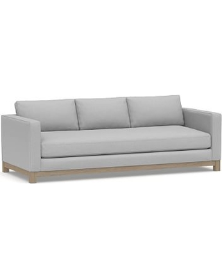 """Jake Upholstered Grand Sofa 95"""" with Wood Legs, Polyester Wrapped Cushions, Brushed Crossweave Light Gray"""