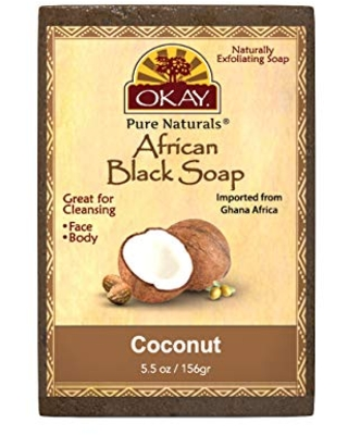 OKAY | African Black Soap with Coconut | For All Skin Types | Cleanses and Exfoliates | Nourishes and Heals | Free of Sulfate, Silicone & Paraben | 5.5 oz