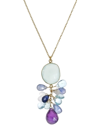 Handmade Blue Passion Stone Pendant Gold over .925 Silver Necklace (Thailand) (Purple-Blue)
