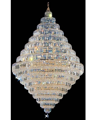 "Classic Lighting 1606 G CP Ambassador, Crystal, Chandelier, 48"" x 48"" x 73"", 24k Gold Plate"