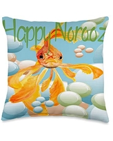 taiche Happy Norooz Goldfish In Pastel Bubbles Throw Pillow, 16x16, Multicolor