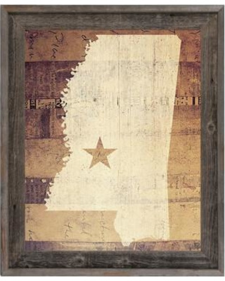 """Click Wall Art 'Mississippi Rustic' Framed Graphic Print Art on Canvas in Brown/Tan GRU0000438FR Size: 23.5"""" H x 19.5"""" W"""