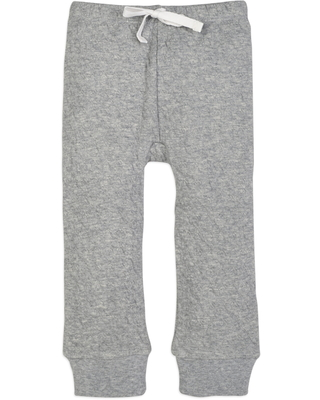 Infant Girl's Burt's Bees Quilted Organic Cotton Pants, Size 3-6M - Grey