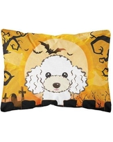 The Holiday Aisle Livingon Halloween Poodle Fabric Indoor/Outdoor Throw Pillow BI148614 Color: White