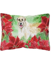 The Holiday Aisle Marne Irish Wolfhound Poinsettias Indoor/Outdoor Throw Pillow BI148673