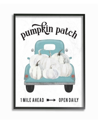 """Stupell Industries 11 in. x14 in. """"Pumpkin Patch Truck Autumn Fall Seasonal Design """"by Lettered and LinedFramed Wall Art, Multi-Colored"""