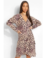 Womens Leopard Midi Satin Wrap Shirt Style Dress - Brown - 6