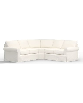 Buchanan Roll Arm Slipcovered 3-Piece L-Shaped Sectional, Polyester Wrapped Cushions, Performance Everydaylinen(TM) by Crypton(R) Home Ivory