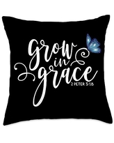 Inspirational Christian Scripture Tees 2 Peter 3:18 - Grow in Grace Butterfly Scripture Throw Pillow, 18x18, Multicolor