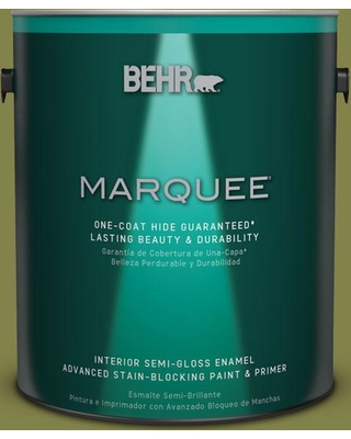 BEHR MARQUEE 1 gal. #MQ6-61 Basil Chiffonade One-Coat Hide Semi-Gloss Enamel Interior Paint and Primer in One