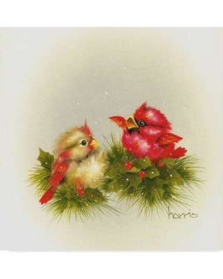 """Winston Porter 'Cardinals and Holly' Acrylic Painting Print on Wrapped Canvas WNPO4812 Size: 14"""" H x 14"""" W x 2"""" D"""
