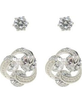Kim Rogers Silver Cubic Zirconia Round Stone Duo Stud Earring Set
