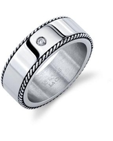 He Rocks Oxidized Rope Design Stainless Steel Ring with Cubic Zirconia - Silver