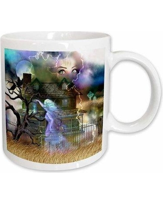 East Urban Home A Spooky Collage of anOld Haunted House Ghost Graveyard Cat and More Coffee Mug W000811729