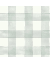 Magnolia Home by Joanna Gaines 56 sq. ft. Gray Magnolia Home Watercolor Check Removable Wallpaper