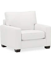 """PB Comfort Square Arm Slipcovered Grand Armchair 42.5"""", Box Edge Polyester Wrapped Cushions, Performance Everydaylinen(TM) by Crypton(R) Home Ivory"""