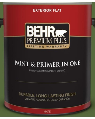 BEHR Premium Plus 1 gal. #410D-7 Mountain Forest Flat Exterior Paint and Primer in One
