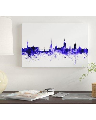 "East Urban Home 'Stockholm Sweden Skyline' by Michael Tompsett Graphic Art Print on Wrapped Canvas EUME4078 Size: 26"" x 40"" x 1.5"""
