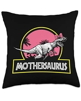 Mother's Day Designs Mom-Gifts Mother-saurus Tyrannosaurus Rex Funny Mom Mommy Mama Throw Pillow, 18x18, Multicolor