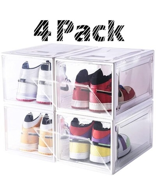 Shoe Box Drop-Front Shoe Storage With Magnetic Closure Large Size Shoe Organizer Stackable For Shoe Collection Display