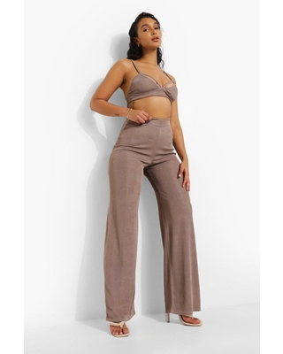 Womens Recycled Ribbed Wide Leg Pants - Beige - 12