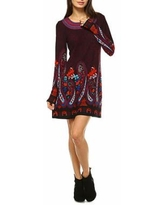 White Mark Sandrine Embroidered Sweater Dress, X-large , Purple
