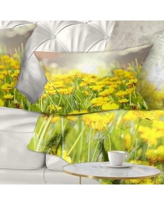 East Urban Home Floral Sunny Meadow with Flowers Lumbar Pillow FTIF5394