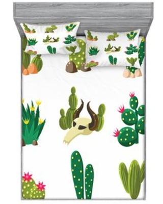 Cactus Mexican South Desert with Animals Cactus Plants Skeletons Flowers Sheet Set