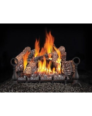 """Fiberglow Series GL24NE 24"""" Vented Natural Gas Log Set with Electronic Ignition Up to 60 000 BTU's PHAZER Log Set Cast Iron Grate and Back-up"""