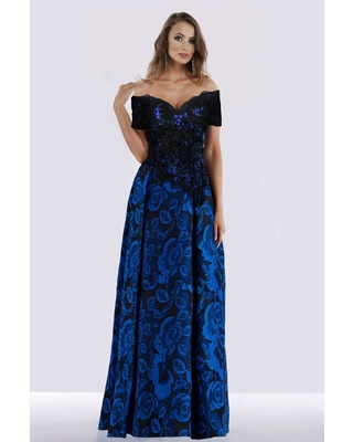 Feriani Couture - 18656 Floral Embroidered Off Shoulder Evening Dress