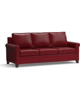 """Cameron Roll Arm Leather Sofa 90.5"""", Polyester Wrapped Cushions, Leather Signature Berry Red"""