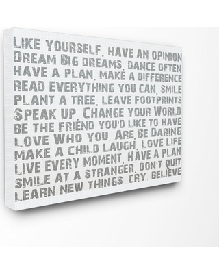 """Stupell Industries 24 in. x 30 in. """"Like Yourself Inspirational Typography"""" by Andrea James Printed Canvas Wall Art, Multi-Colored"""