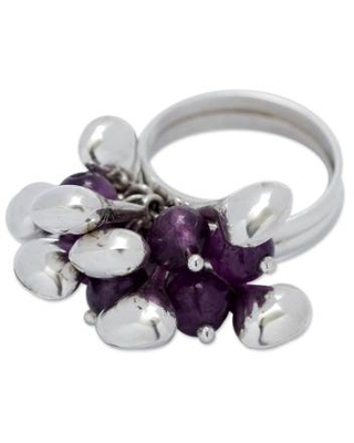 Hand Crafted Amethyst and Sterling Silver Cluster Ring