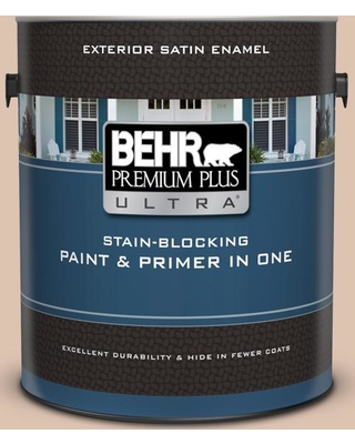 BEHR Premium Plus Ultra 1 gal. #N250-2A Bali Sand Satin Enamel Exterior Paint and Primer in One