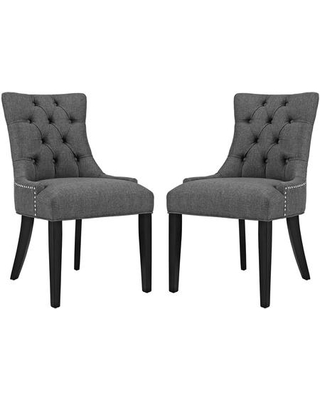 Regent Collection EEI-2743-GRY-SET Set of 2 Dining Chairs with Black Rubberwood Tapered Legs Nailhead Trim Non-Marking Foot Caps Solid Wood Frame
