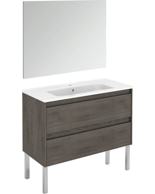 WS Bath Collections 39.8 in. W x 18.1 in. D x 32.9 in. H Complete Bathroom Vanity Unit in Samara Ash with Mirror