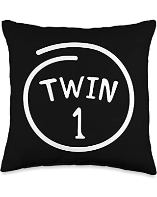 Twin Siblings Cute Twins 1 Funny Love Family Matching Twin Throw Pillow, 16x16, Multicolor